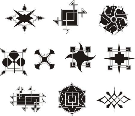 Set of symmetrical geometrical decorative elements. Vector illustrations.