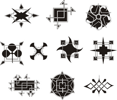 symmetrical: Set of symmetrical geometrical decorative elements. Vector illustrations.