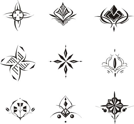 symmetrical: Set of symmetrical floral decorative elements. Vector illustrations. Illustration