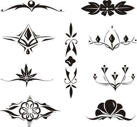 Set of symmetrical floral decorative elements. Vector illustrations. Illustration