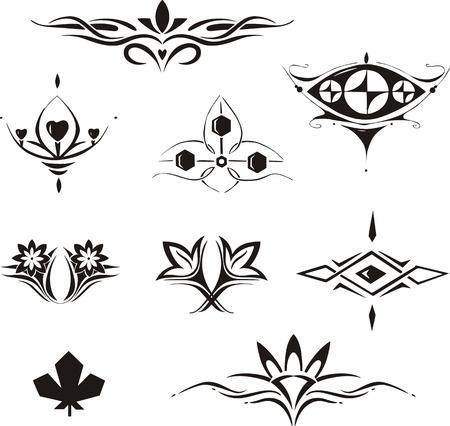 dingbat: Set of symmetrical floral decorative elements. Vector illustrations. Illustration