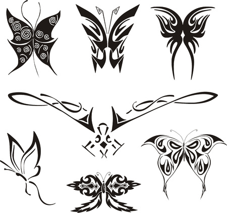 dingbat: Butterflies and Moths Tattoos Set. Black and white vector illustrations.