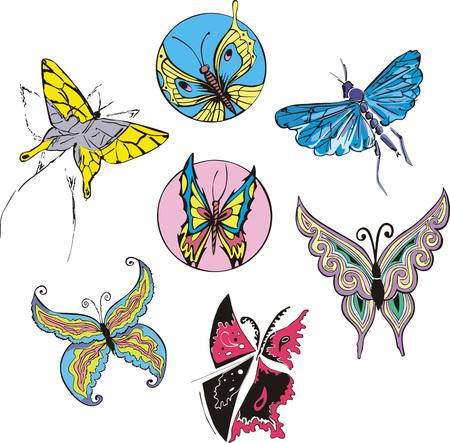 dingbat: Butterflies and Moths Set. Color vector illustrations. Illustration