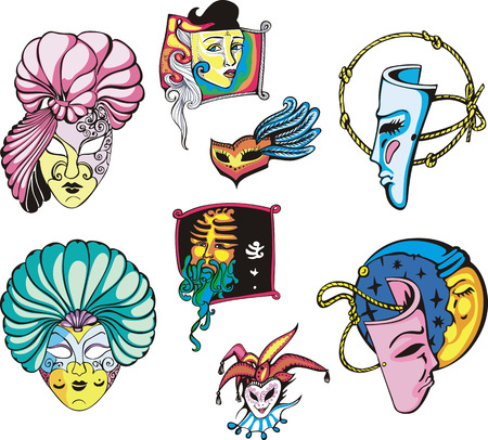 carnival masks: Carnival Masks Set. Color vector illustrations.