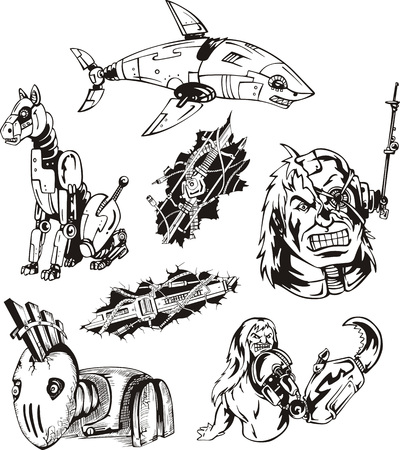 biomechanics: Cyborgs and Robots, mechanical humans and animals. Set of vector illustrations.
