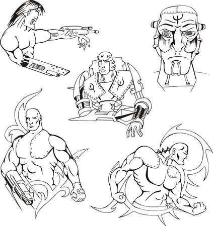 biomechanics: Cyborgs and Robots. Set of vector illustrations.