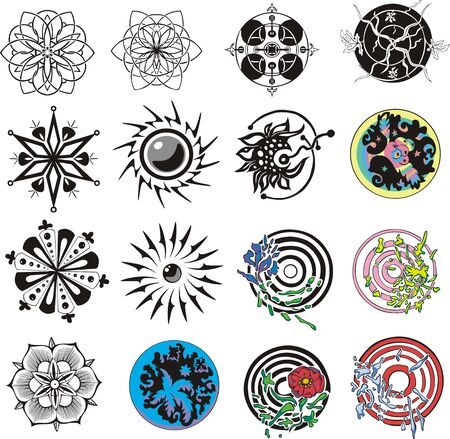 dingbats: Set of miscellaneous round and floral dingbats. Vector illustrations.