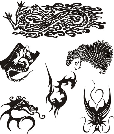 mythic: Set of dragon tattoos. Black and white vector illustrations.
