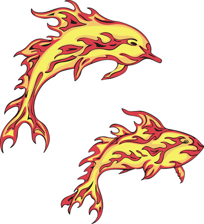 fiery: Set of two fiery dolphins. Vector illustrations. Tattoos.