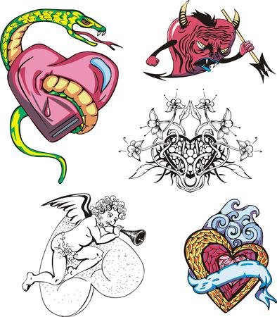 amur: Set of cartoon hearts. Vector illustrations.