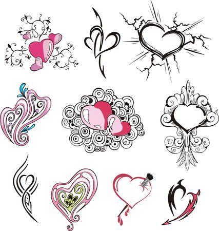 Set van diverse harten. Vector illustraties. Vector Illustratie