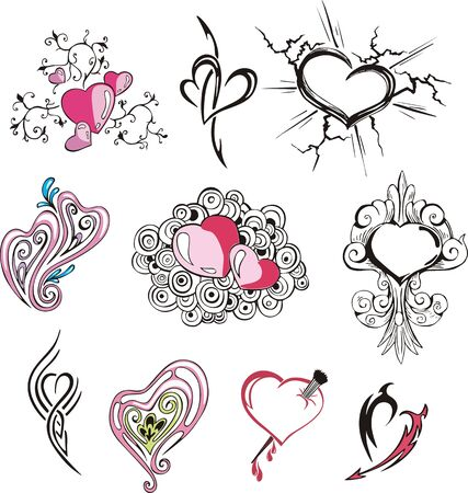 Set of miscellaneous hearts. Vector illustrations. Illustration