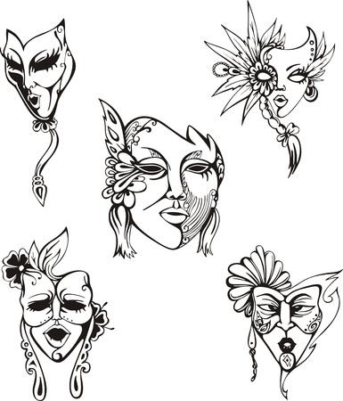 Maschere di carnevale Set. In bianco e nero illustrazioni vettoriali.