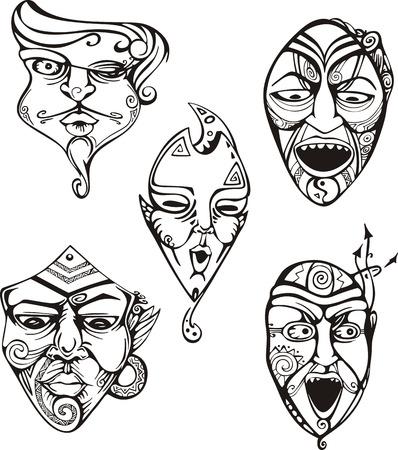 Set maschili maschili di carnevale. Illustrazioni vettoriali in bianco e nero.