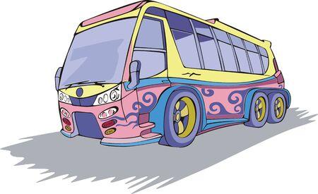 motor coach: Coach Bus in motion. Color vector illustration.