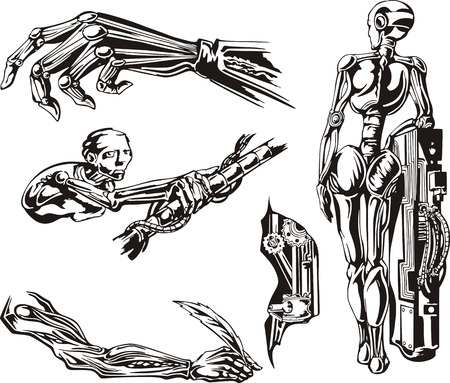 biomechanics: Cyborgs Biomechanics Set. Black and white vector illustrations.
