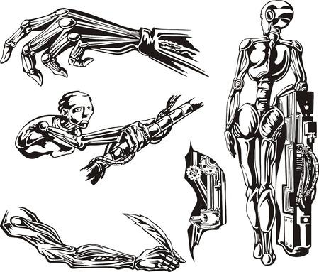 biomechanics: Cyborgs Biomechanics Set. Black and white vector illustrations.