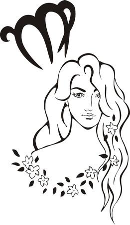fate: Virgo Zodiac Sign. Black and white vector illustration.