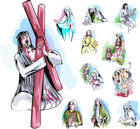 bible story: Set of Bible Story Illustrations. Color vector illustrations. Illustration