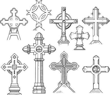designation: Set of Christian Cross Shapes. Black and white vector illustrations.