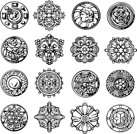 emblematic: Set of Retro Circle Dingbats. Black and white vector illustrations.