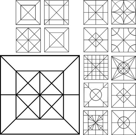 dingbat: Set of Square Dingbats. Black and white vector illustrations.