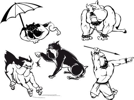 Funny Bulldog Cartoons Set. Black and white vector illustrations.