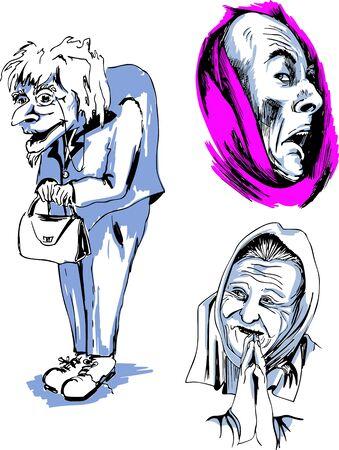 crone: Set of Senior Female Faces. Black and white vector illustrations. Illustration