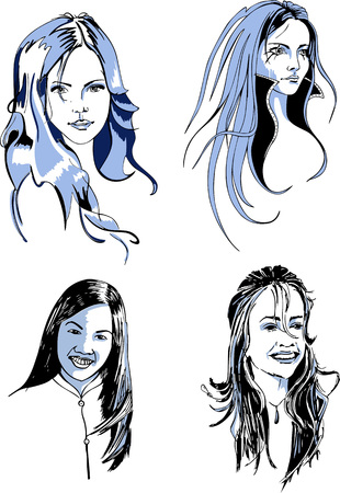 long haired: Set of Young Long Haired Female Faces. Black and white vector illustrations.