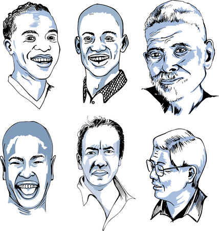 male face: Set of Male Faces. Black and white vector illustrations.