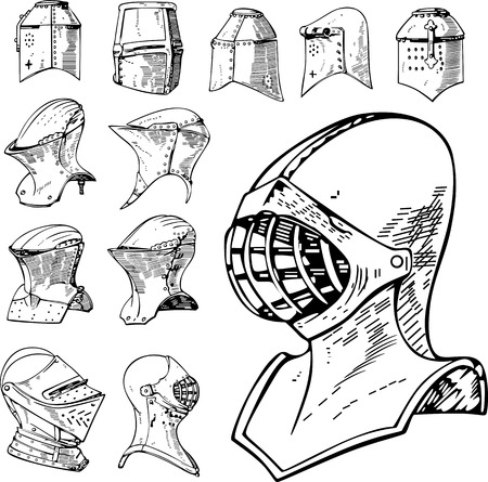 cross hatching: Set of Heraldic and Knight Helmets. Black and white vector illustrations.