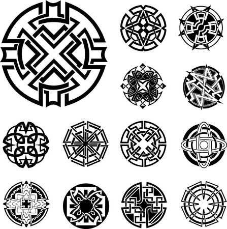 dingbats: Set of Round Knot Dingbats. Black and white vector illustrations. Illustration