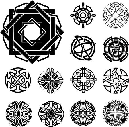 dingbat: Set of Knot Dingbats. Black and white vector illustrations. Illustration