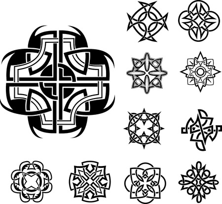 dingbats: Set of Knot Dingbats. Black and white vector illustrations. Illustration