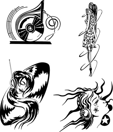 emblematic: Music Entertainment Set. Black and white vector illustrations.