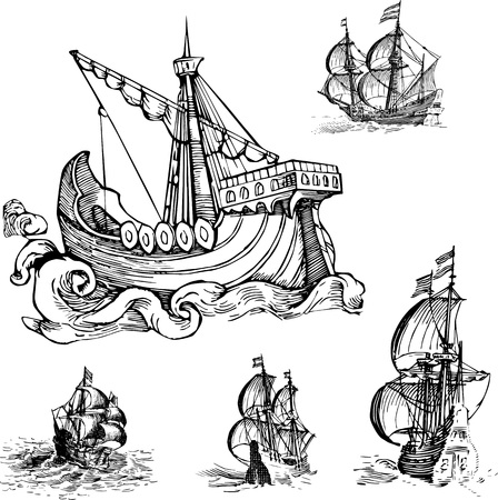 Set of Old Sailing Ships. Black and white vector illustrations.