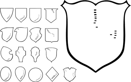 cross hatching: Set of Heraldic Shield Shapes. Black and white vector illustrations. Illustration