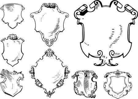 cross hatching: Set of Retro Heraldic Shields. Black and white vector illustrations. Illustration