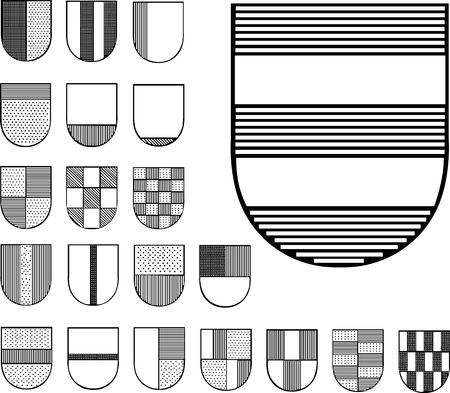 emblematic: Set of Heraldic Shields. Black and white vector illustrations.