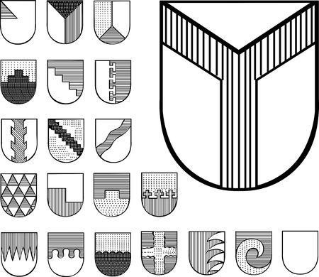 Set of Heraldic Shields. Black and white vector illustrations.