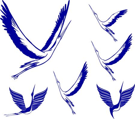 emblematic: Icon Set of Storks. Blue color simple vector illustrations.