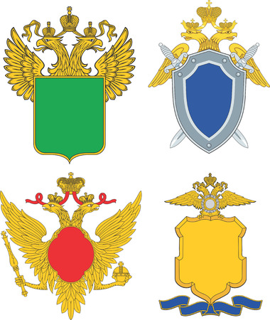 Russia emblematic and heraldic templates. Set of vector images Illustration