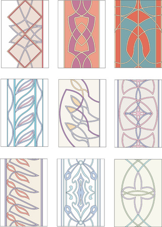 continued: Set of ornamental patterns in mannerism style. Vector illustrations.