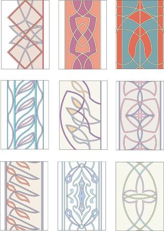 mannerism: Set of ornamental patterns in mannerism style. Vector illustrations.