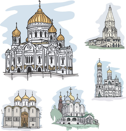 savior: Set of famous churches and cathedrals in Moscow, Russia: The Christ the Savior Cathedral, The Church of the Ascension in Kolomenskoye, The Assumption Cathedral and The Ivan the Great Belltower in The Kremlin plus The Cathedral of Our Lady of Smolensk at t
