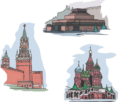 Set of famous buildings sights on Red square in Moscow, Russia: The Lenins Mausoleum, The Spasskaya Clock Tower and The St. Basils Cathedral. Set of vector illustrations.