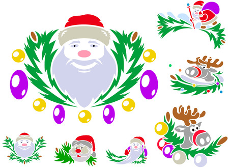 st claus: Set of patterns with St. Claus and Rudolph reindeer. Vector illustrations.