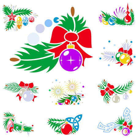 Set of winter holiday decorations with xmas balls. Vector illustrations.