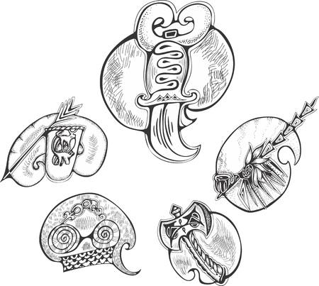 Set of animal-stylized blades. Vector illustrations.