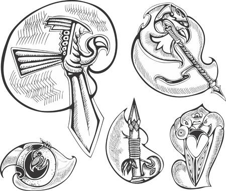 Set of bird-stylized blades. Vector illustrations. Ilustração